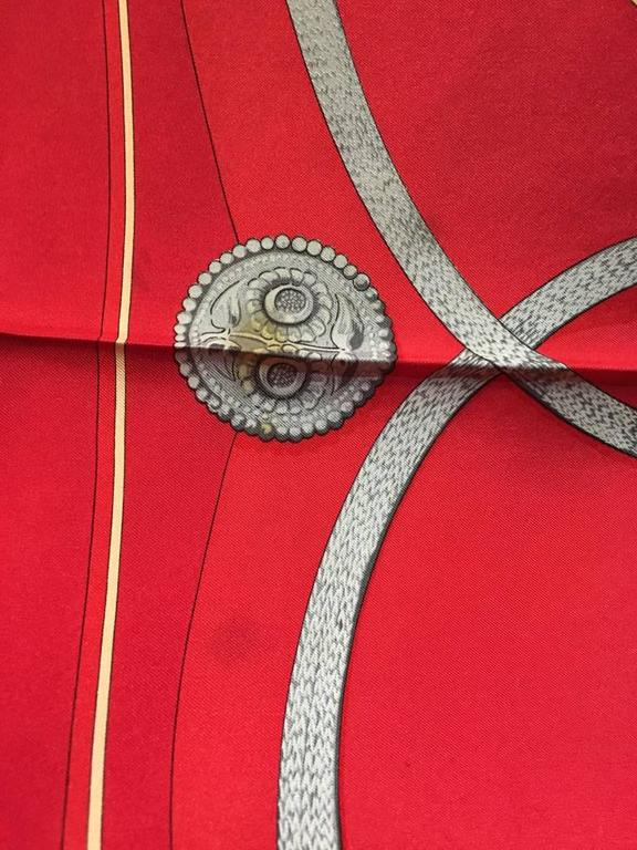 Hermes Vintage Red Gaucho Silk Scarf c1970s For Sale 2