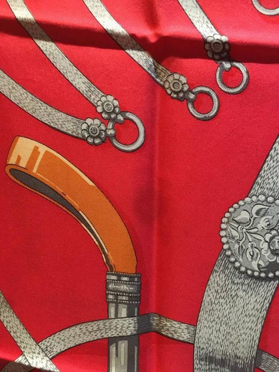 Hermes Vintage Red Gaucho Silk Scarf c1970s 8