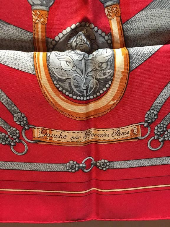 Hermes Vintage Red Gaucho Silk Scarf c1970s For Sale 3