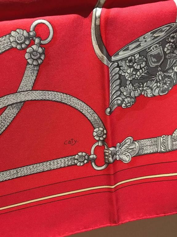 Hermes Vintage Red Gaucho Silk Scarf c1970s For Sale 5
