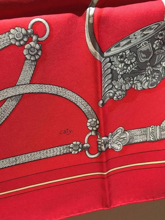 Hermes Vintage Red Gaucho Silk Scarf c1970s 9