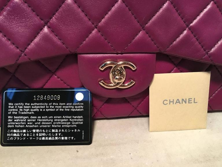 Chanel Purple Leather Jumbo Classic Flap Shoulder Bag 9