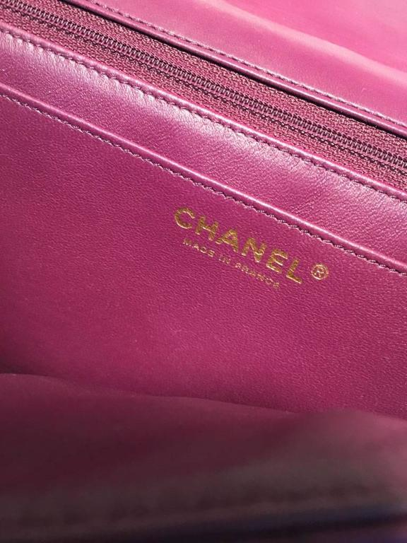 Chanel Purple Leather Jumbo Classic Flap Shoulder Bag 7