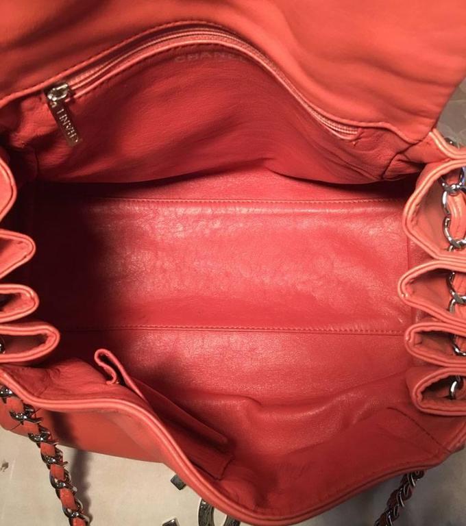 Chanel Coral Leather Top Flap Shoulder Bag  6