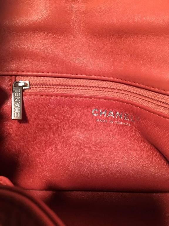 Chanel Coral Leather Top Flap Shoulder Bag  7