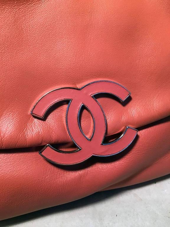 Chanel Coral Leather Top Flap Shoulder Bag  9