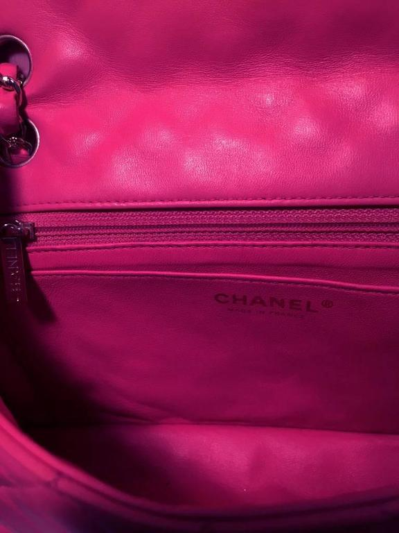 Chanel Pink Quilted Charms Classic Flap Shoulder Bag For Sale 2