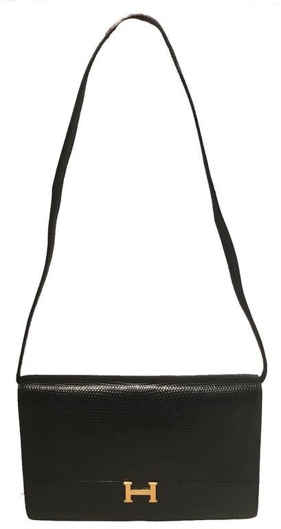 Hermes Vintage Black Lizard Shoulder Bag 2