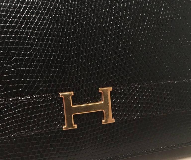 Hermes Vintage Black Lizard Shoulder Bag For Sale 5
