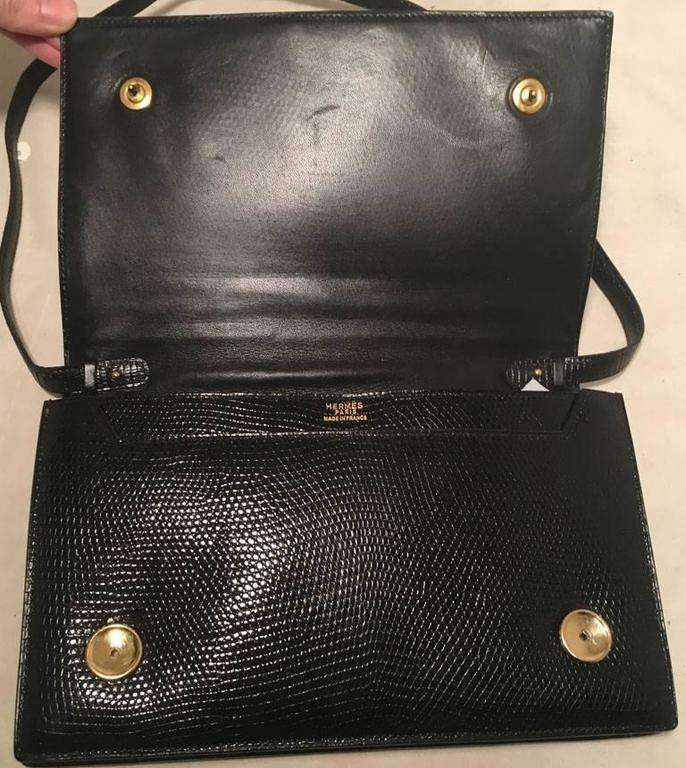Hermes Vintage Black Lizard Shoulder Bag 10
