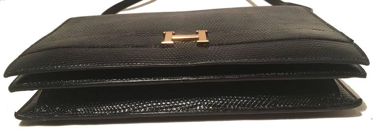 Hermes Vintage Black Lizard Shoulder Bag For Sale 1