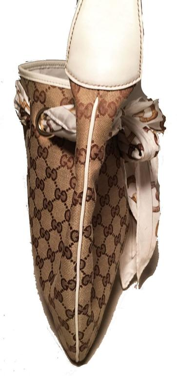 Brown Gucci Monogram Canvas and Silk Scarf Shoulder Bag For Sale