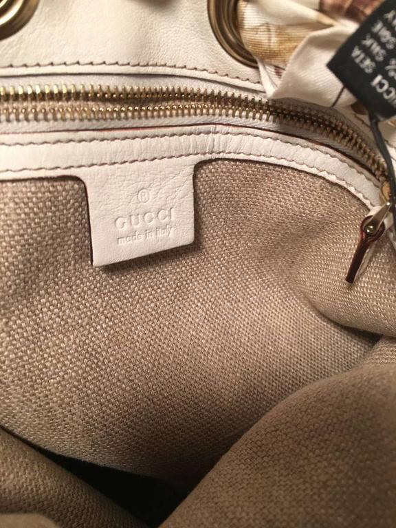 Gucci Monogram Canvas and Silk Scarf Shoulder Bag For Sale 1
