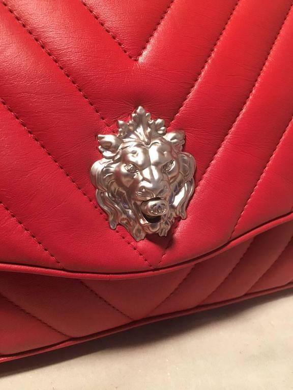 68f8b69f7225f4 Chanel Red Chevron Quilted Lions Head Classic Flap Shoulder Bag For Sale 4