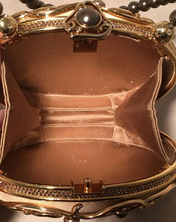 Judith Leiber Vintage Gold and Pearl Minaudiere Evening Bag For Sale 2