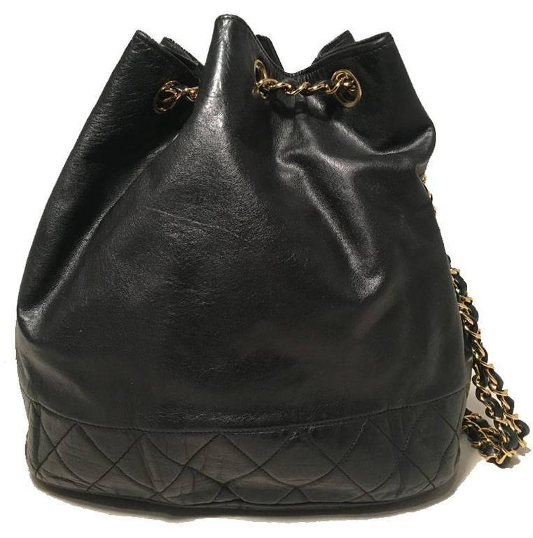Chanel Vintage Black Leather Drawstring Bucket Shoulder Bag 2