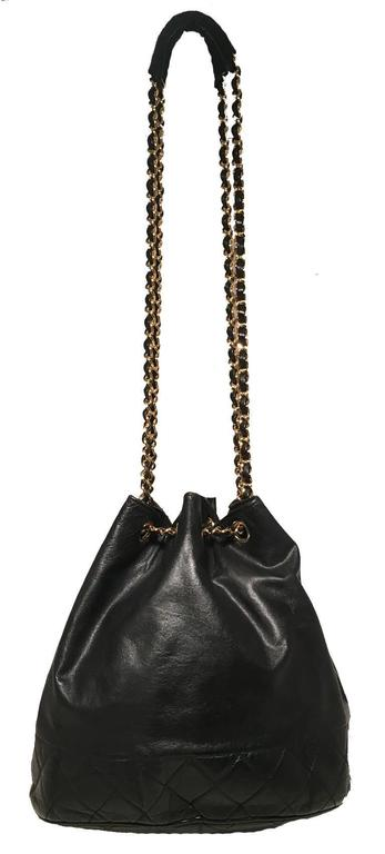 Chanel Vintage Black Leather Drawstring Bucket Shoulder Bag 8