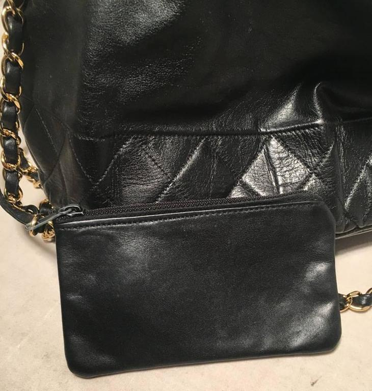 Chanel Vintage Black Leather Drawstring Bucket Shoulder Bag 7