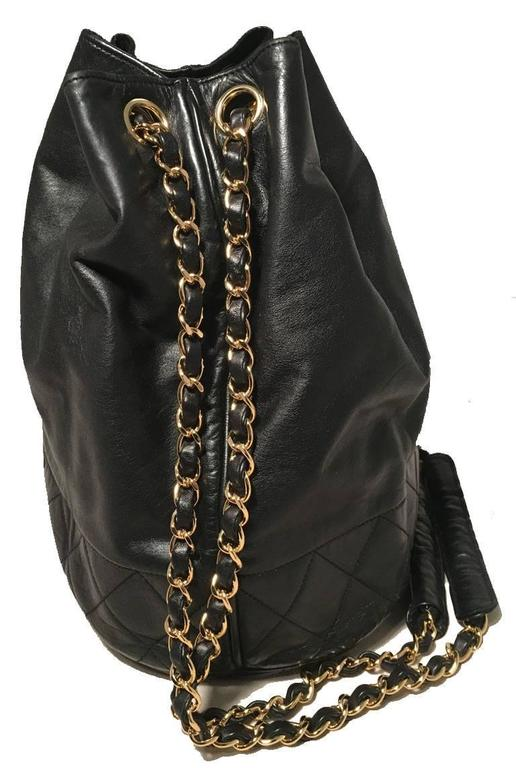Chanel Vintage Black Leather Drawstring Bucket Shoulder Bag 3