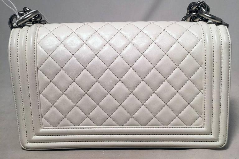 Gray Chanel White Quilted Le Boy Classic Flap Shoulder Bag For Sale