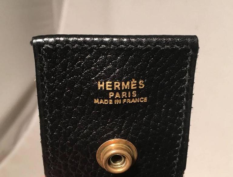 Hermes Vintage Black Leather Shoulder Bag 6