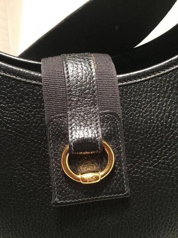 Hermes Vintage Black Leather Shoulder Bag 8
