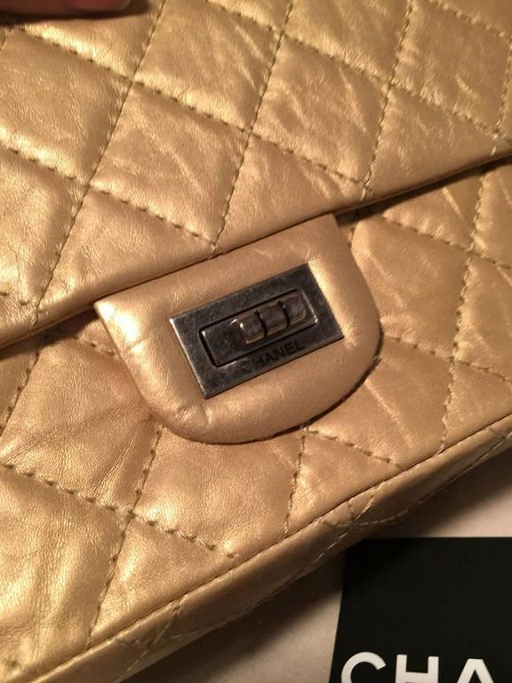 Chanel Gold Leather 2.55 Reissue 226 Double Flap Classic  For Sale 5