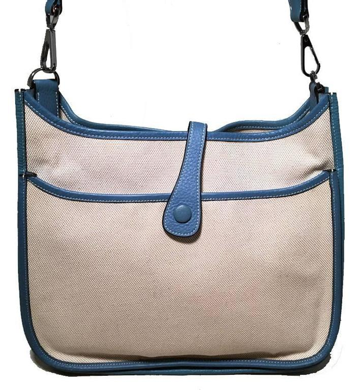 Hermes Toile Canvas and Blue Leather Evelyne II PM Medium 2