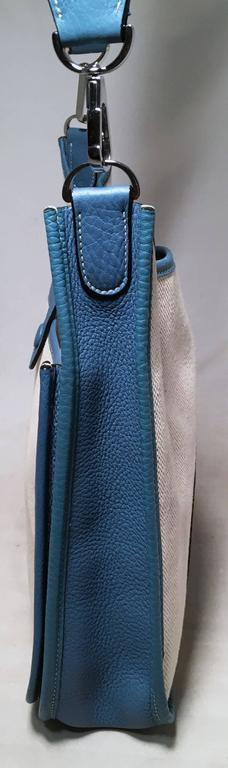 Hermes Toile Canvas and Blue Leather Evelyne II PM Medium 4