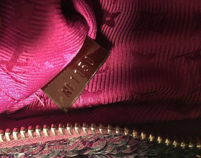 Limited Edition Louis Vuitton Violette Sequin Rococo Pochette Clutch Bag For Sale 3