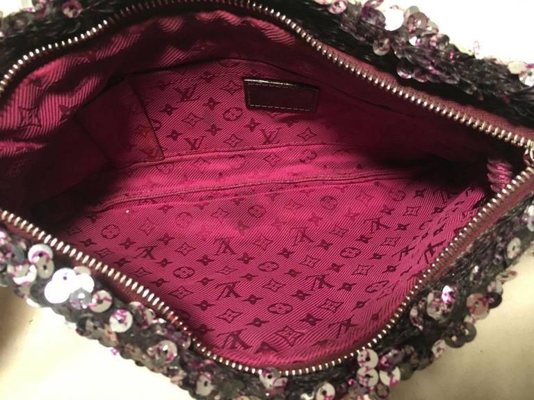Limited Edition Louis Vuitton Violette Sequin Rococo Pochette Clutch Bag 6