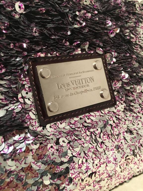 Limited Edition Louis Vuitton Violette Sequin Rococo Pochette Clutch Bag For Sale 4
