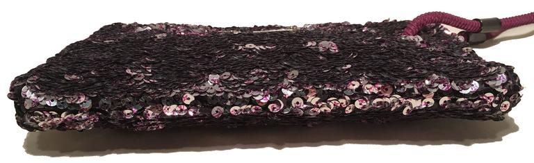 Limited Edition Louis Vuitton Violette Sequin Rococo Pochette Clutch Bag In Excellent Condition For Sale In Philadelphia, PA