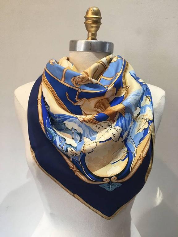 Black Hermes Rythmes du Monde Silk Scarf in Blues For Sale