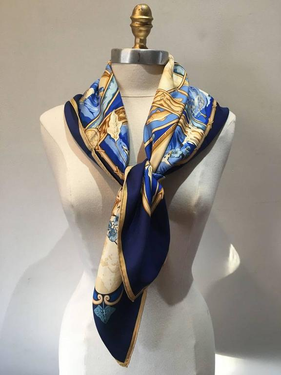 Hermes Rythmes du Monde Silk Scarf in Blues 2