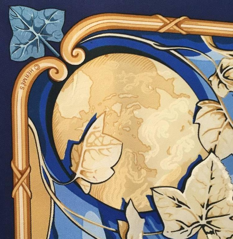 Hermes Rythmes du Monde Silk Scarf in Blues In Excellent Condition For Sale In Philadelphia, PA