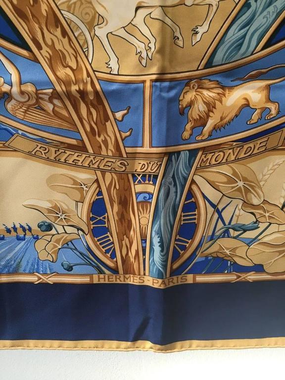 Women's or Men's Hermes Rythmes du Monde Silk Scarf in Blues For Sale