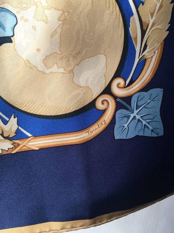 Hermes Rythmes du Monde Silk Scarf in Blues For Sale 1
