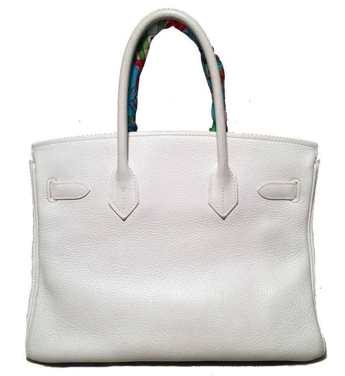 STUNNING Hermes White Togo Leather 30cm Birkin Bag 2