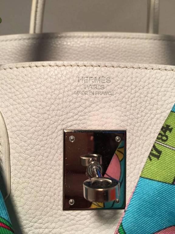 STUNNING Hermes White Togo Leather 30cm Birkin Bag 9