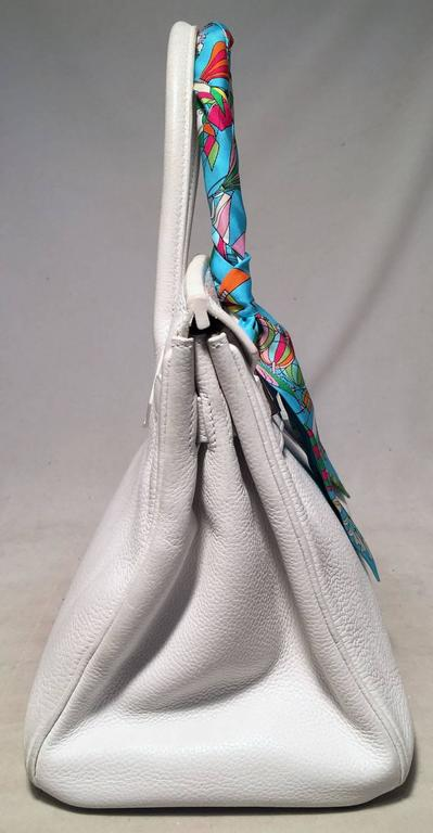STUNNING Hermes White Togo Leather 30cm Birkin Bag 3