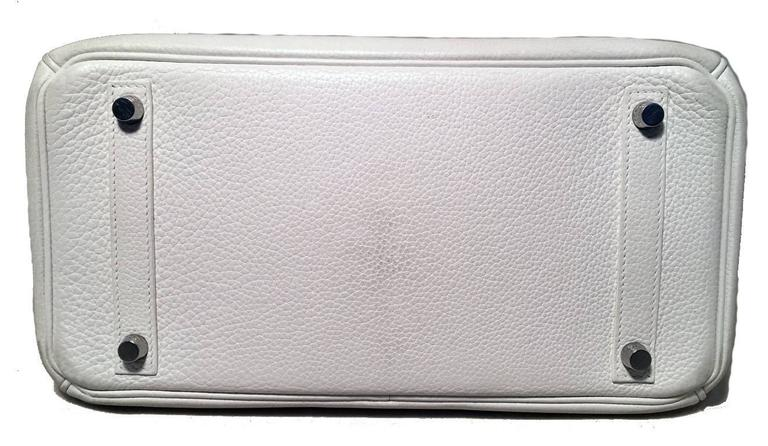 STUNNING Hermes White Togo Leather 30cm Birkin Bag 4