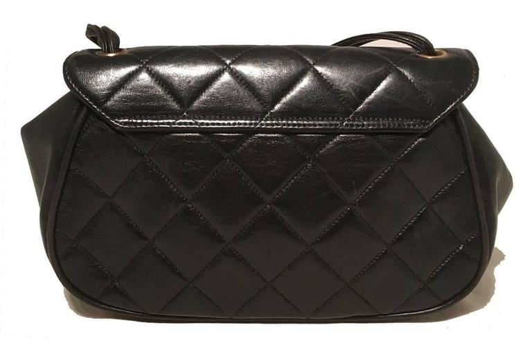 Chanel Rare Vintage Quilted Black Leather Top Flap Classic Handbag 2