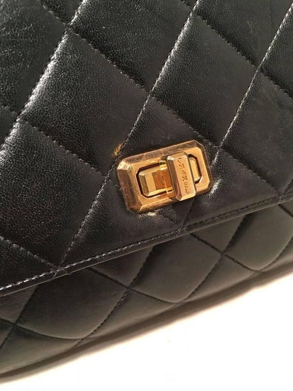 Chanel Rare Vintage Quilted Black Leather Top Flap Classic Handbag 5