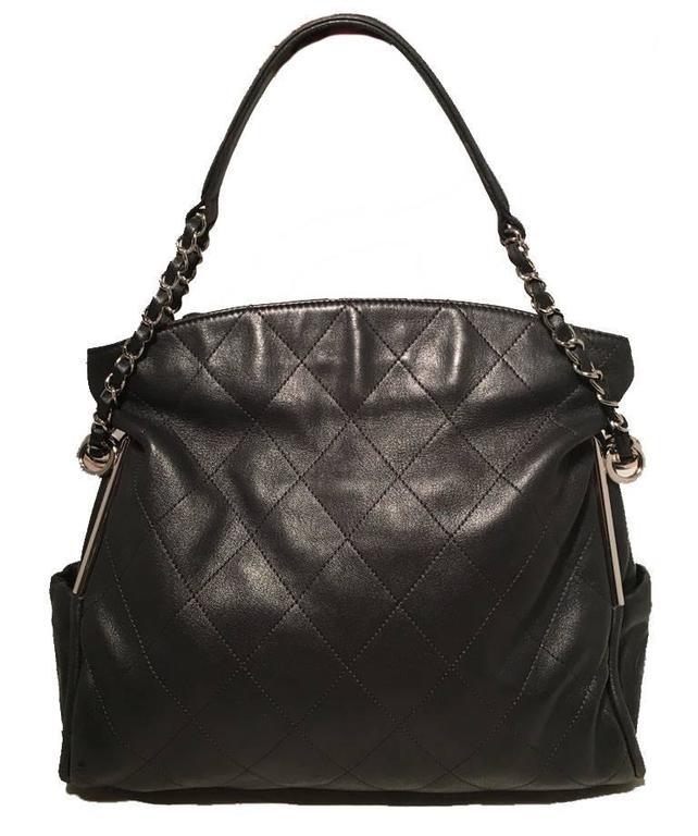 Chanel Quilted Black Leather Fold Over Top Flap Shoulder Bag For Sale 3