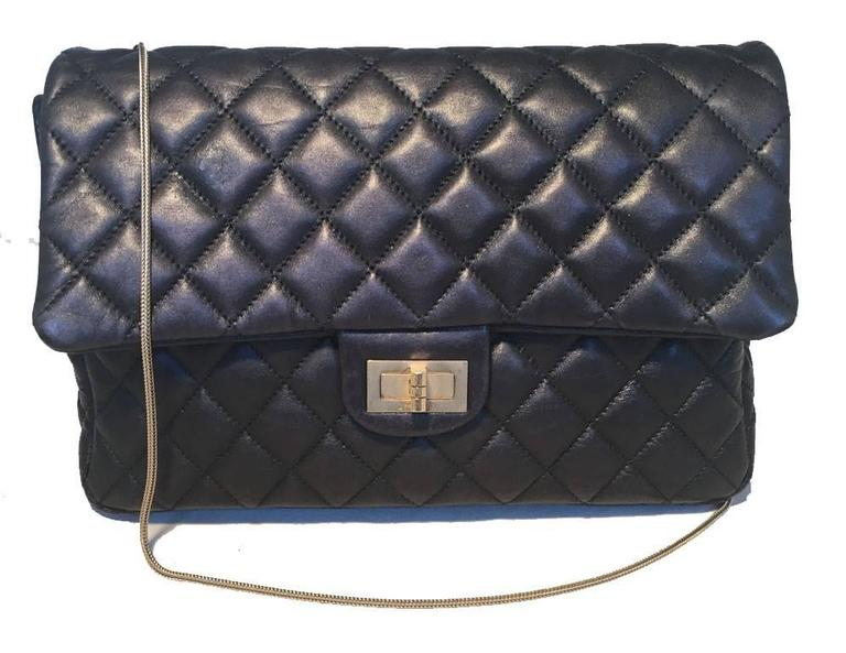 Chanel Black Quilted Soft Lambskin Leather Classic Flap Clutch  4