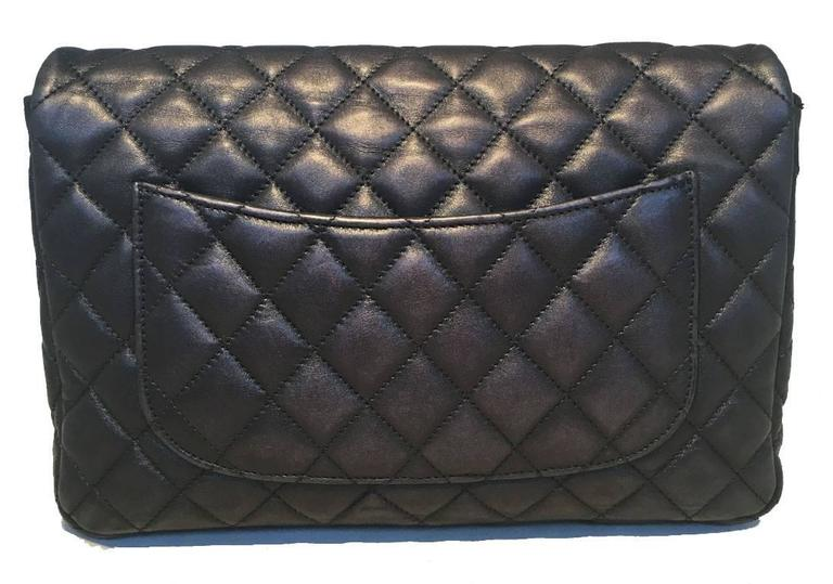 Chanel Black Quilted Soft Lambskin Leather Classic Flap Clutch  3