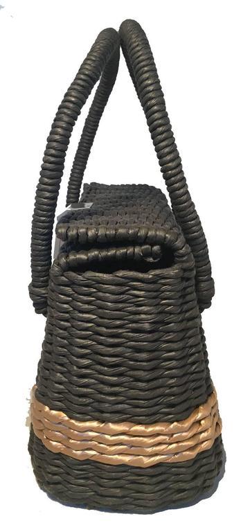 Black Chanel Charcoal and Tan Wicker Rattan Basket Handbag