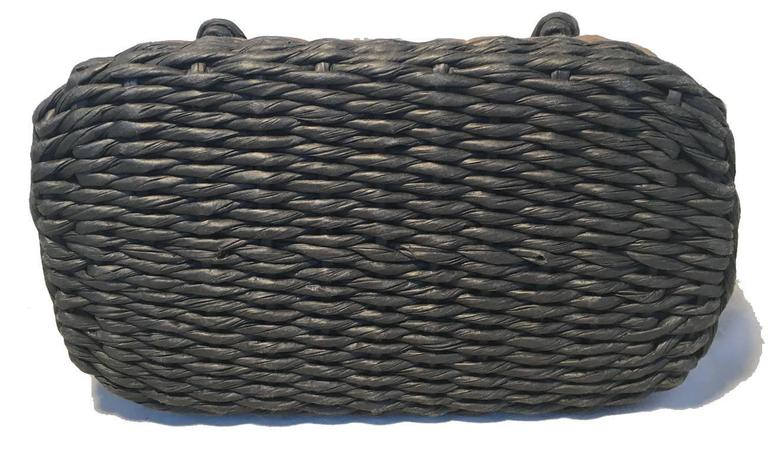 Chanel Charcoal and Tan Wicker Rattan Basket Handbag  In Excellent Condition In Philadelphia, PA
