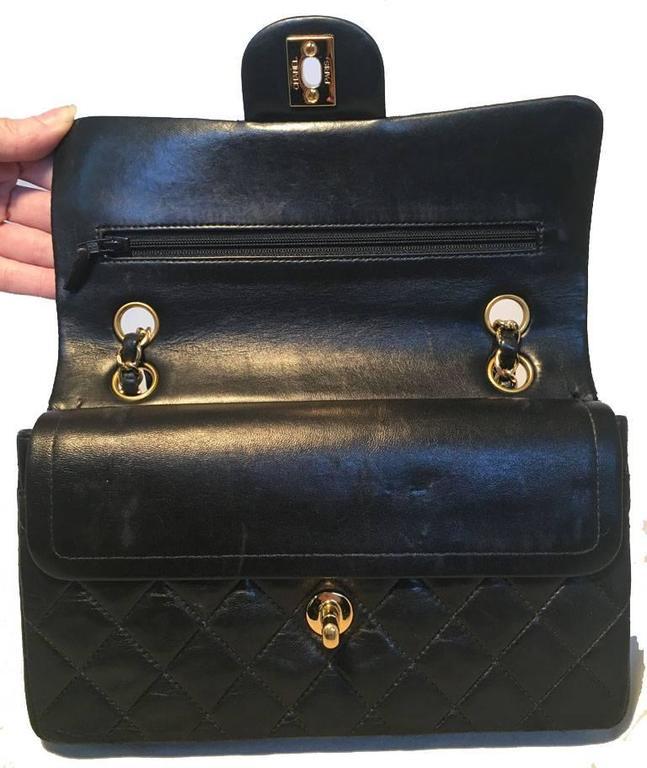 Chanel Black 9inch 2.55 Double Flap Classic Shoulder Bag For Sale 1